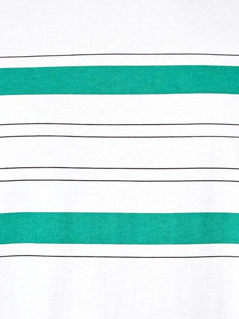 Asher Short Sleeve Panel Print Crew Tee, White, hi-res