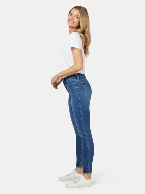 Feather Touch Mid Waisted Skinny 7/8 Jeans Mid Indigo