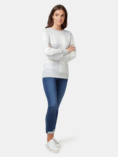 Maci Check Pullover, White, hi-res