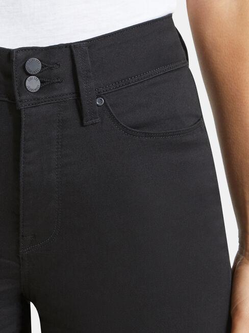 Tummy Trimmer Slim Straight Jeans  Black, Black, hi-res