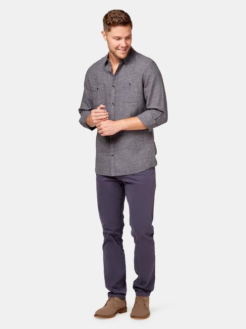 Alec Long Sleeve Textured Shirt, Grey, hi-res