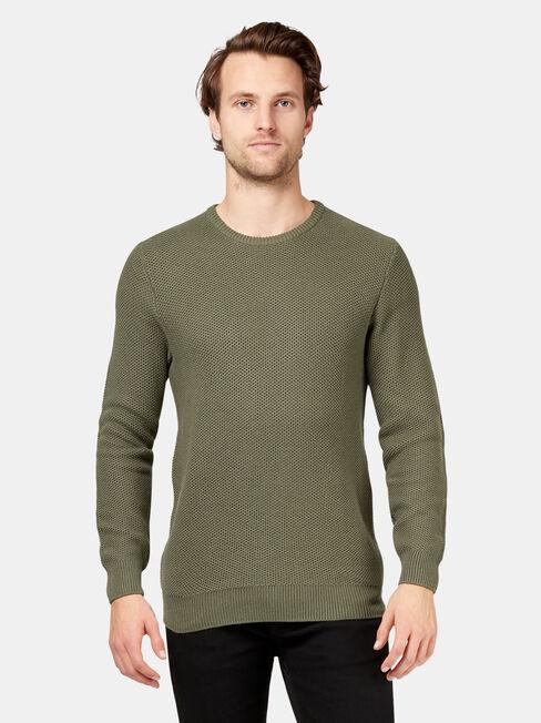Drake Waffle Crew Knit, Green, hi-res
