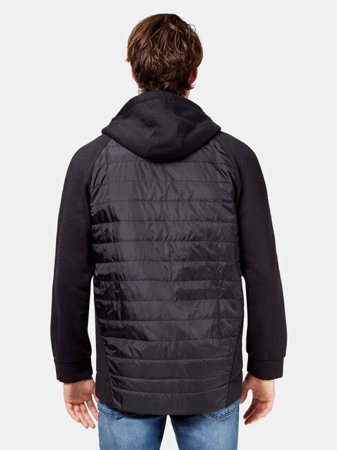 Forest Panelled Hoodie, Black, hi-res