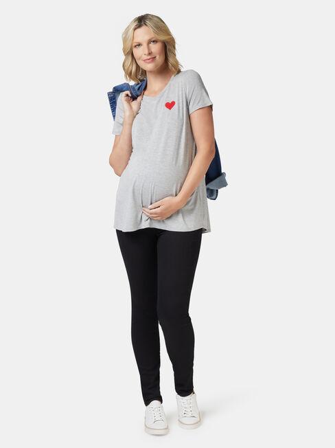 Christina Heart Maternity Tee, Grey, hi-res