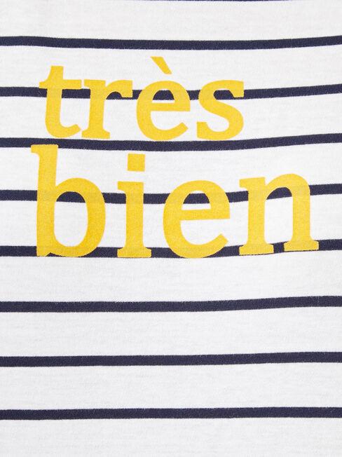 Tres Bien Slogan Tee, Stripe, hi-res