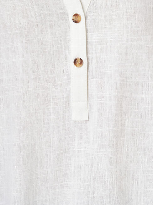 Everly Linen Shirt, White, hi-res