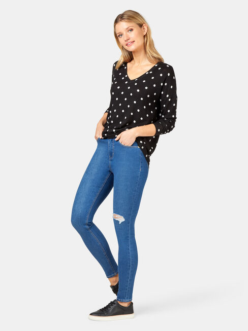 Alice Soft Touch V-Neck Pullover, Black, hi-res