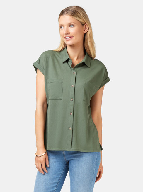 Finley Button Thru Shirt, Green, hi-res