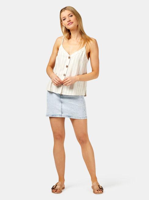 Maddie Button Thru Cami, White, hi-res