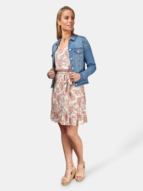 Ellie Luxe Lounge Knit Denim Jacket, Blue, hi-res