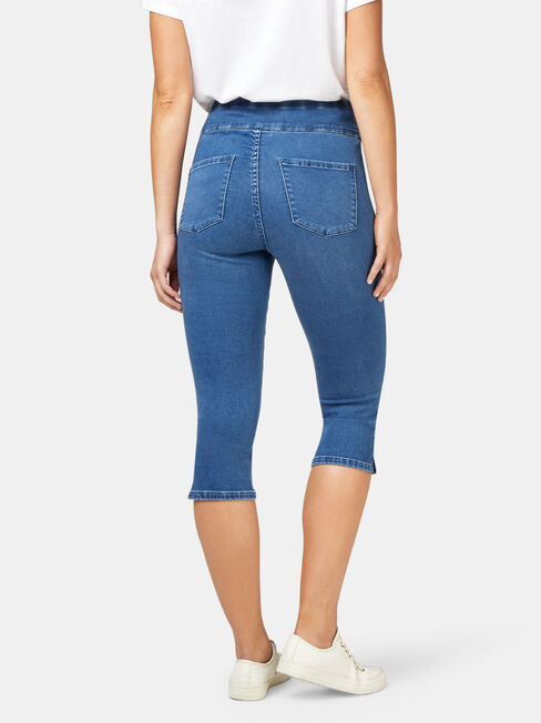Tummy Trimmer Luxe Lounge Pedal Pusher Mid Vintage, Mid Indigo, hi-res