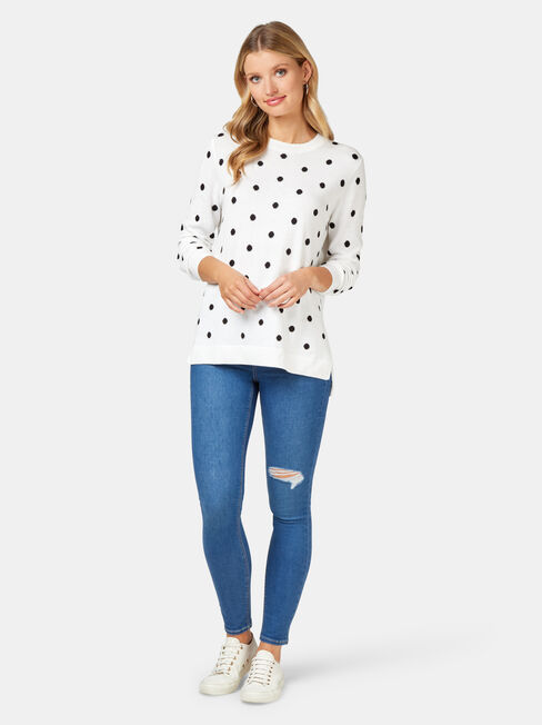 Harlow Spot Pullover, White, hi-res