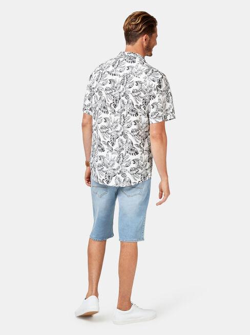 Enzo Short Sleeve Print Shirt, White, hi-res