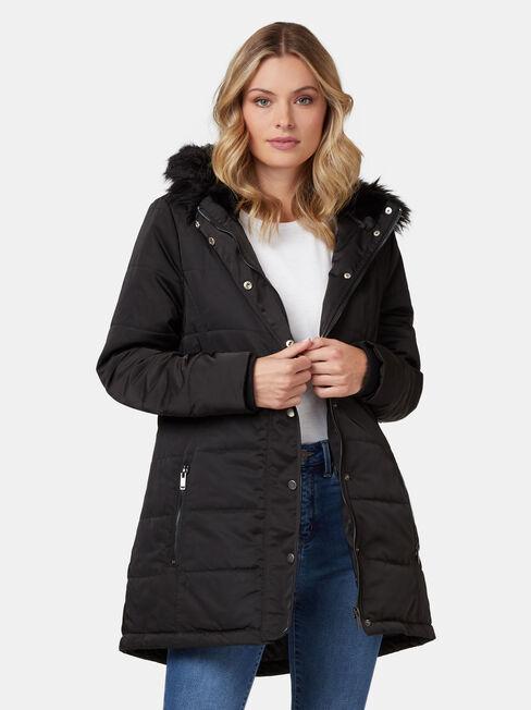 Hannah Belted Water Resistant Jacket, Black, hi-res