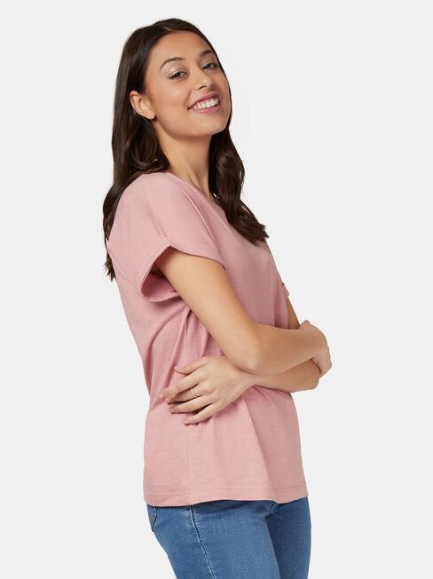 Drop Shoulder Tee, Pink, hi-res