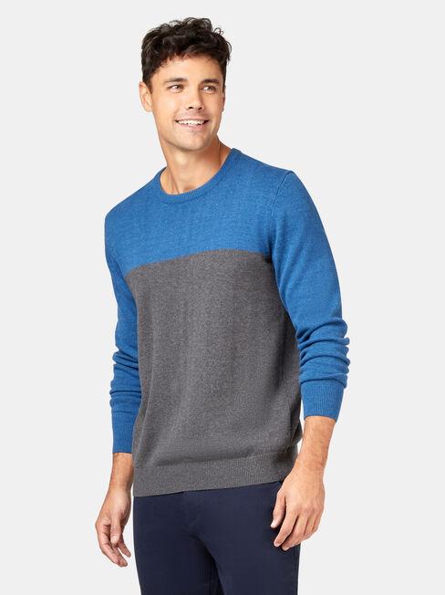 Conrad Block Crew Knit, Blue, hi-res