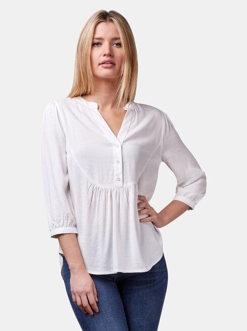 Maxine Textured Shirt, White, hi-res