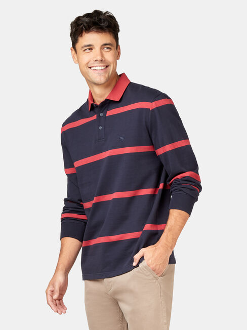 Clark Stripe Long Sleeve Rugby Polo, Blue, hi-res